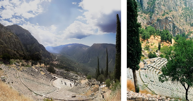 (left) Theatre, Delphi 46; (right) Theatre, closer view with trees, Delphi