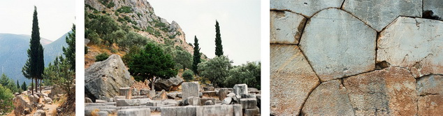 Views of temple foundation with cypress trees, strewn stone blocks, and dry rock wall, Delphi