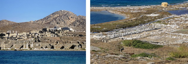(left) Harbor and temple ruins dug into mountains, Delos  (right) Harbor seen from the mountains, Delos