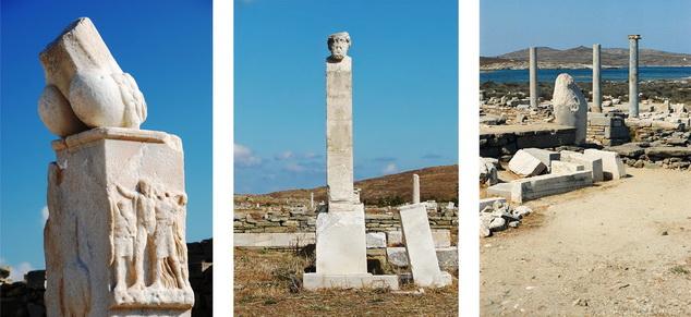 (left) A huge phallus (symbol of Dionysos), Delos 21; (middle) Bust of Hermes, Delos; (right) Fragments of columns, Delos