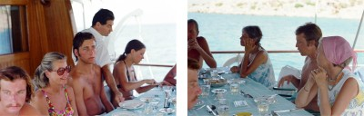 (left) Lunch on Daphni's stern 26; (right)  Lunch on Daphni stern 27