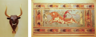 Bull's Head and Bull Leaping fresco, Heraklion, Archaeological Museum, Crete