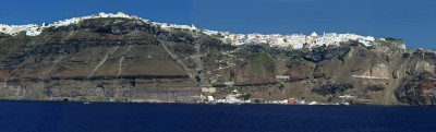 Harbor surrounded by high cliffs, Santorini