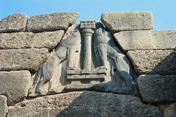 Lions carved into lintel, Mycenae